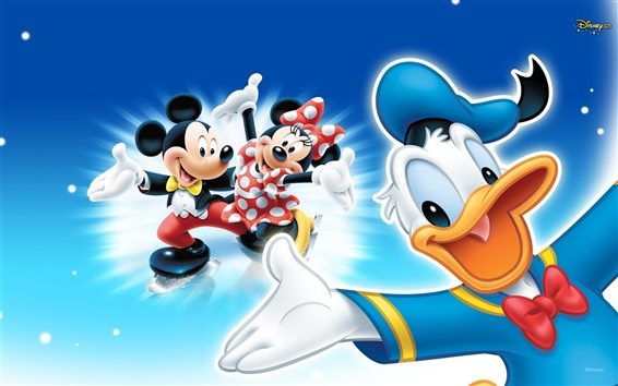 Fond d'écran Mickey et Donald Duck dans la glace