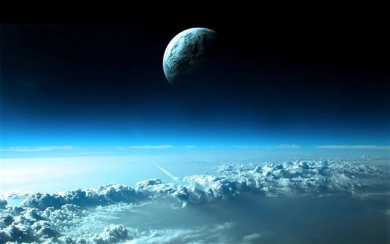 Обои Планета в верхней части синего облака