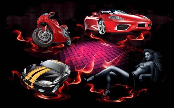 배경 화면 레드 불 빨간 자동차
