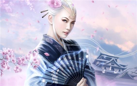 Обои Сакура кимоно девушки