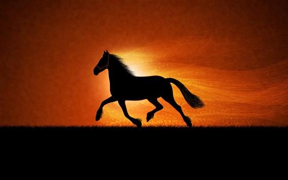 Обои черный силуэт лошади работает