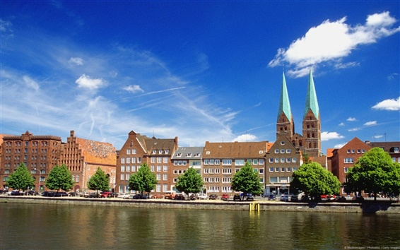Wallpaper The river of Luebeck in Germany