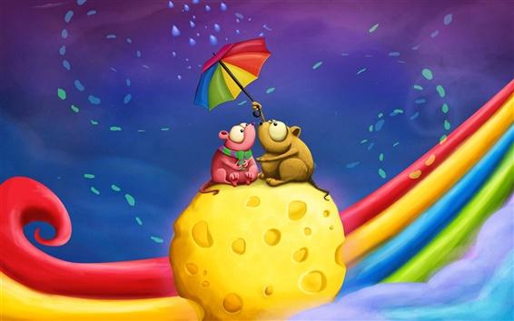 桌布 在蛋糕上打傘的兩隻小老鼠