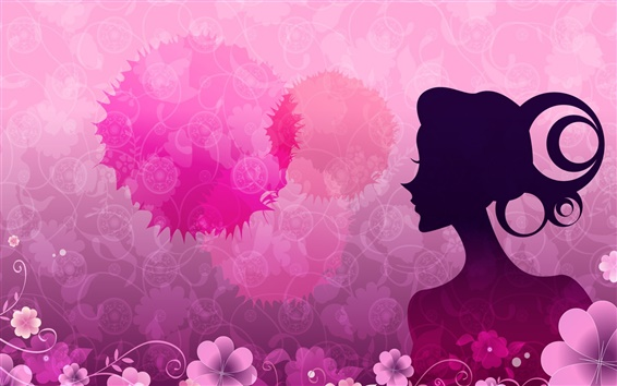 Wallpaper Vector women pink flowers