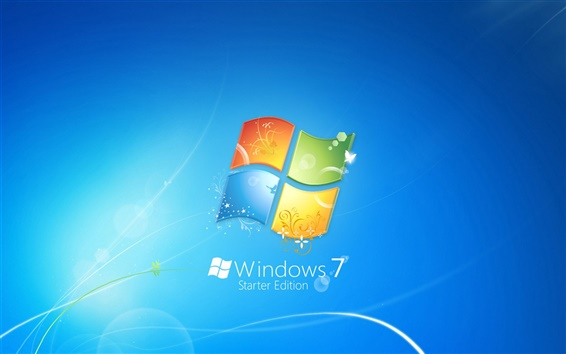 Обои Windows7 тема синий логотип фон