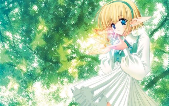 배경 화면 나무 아래에서 애니메이션 엘프 소녀