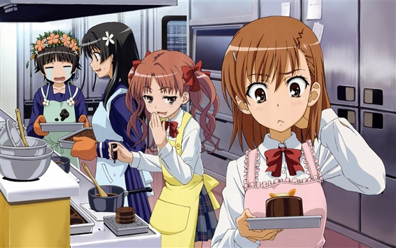 Wallpaper Anime girls in the kitchen