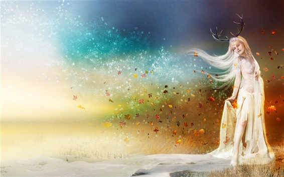 Wallpaper Antlers fantasy girl