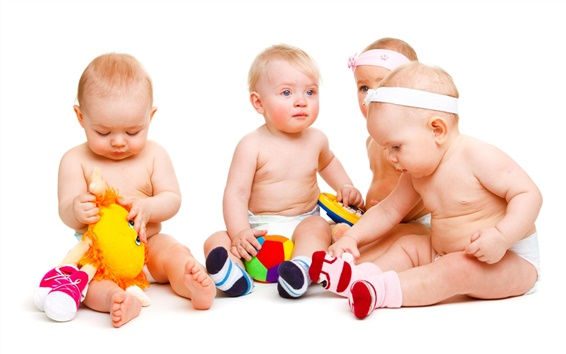 Wallpaper Babies play with toys