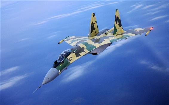 배경 화면 위장의 전투기 비행