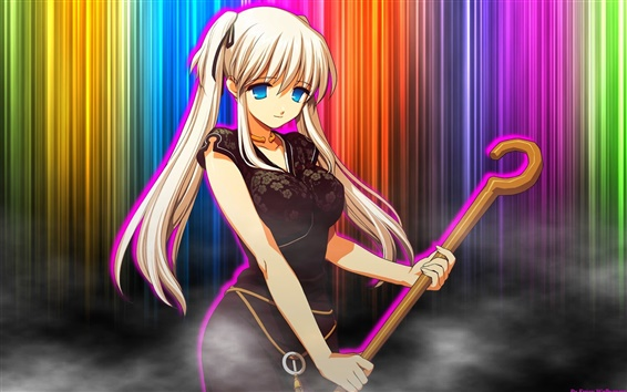 Wallpaper Colorful Background Anime Girl