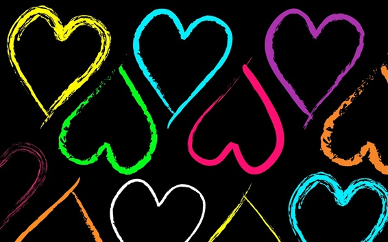Wallpaper Colorful heart-shaped love