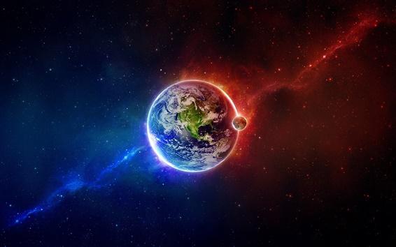 壁紙 地球と月