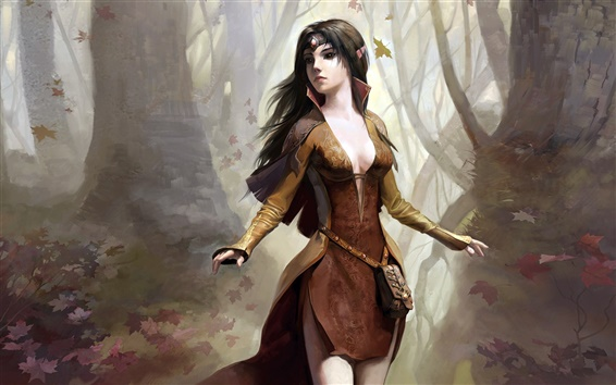 Wallpaper Fantasy girl in the woods
