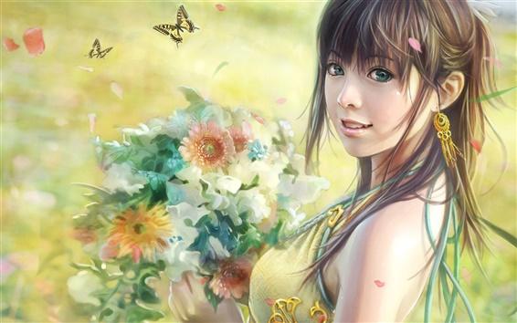 Wallpaper Girl holding flowers