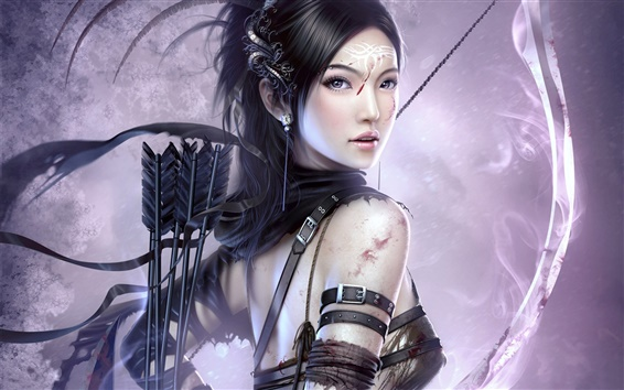 Wallpaper Girl with bow and arrow