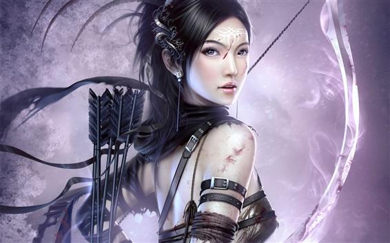 Обои Девушка с луком и стрелами