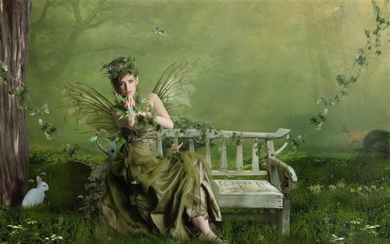 배경 화면 그린 나비의 날개와 소녀