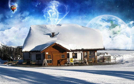 Wallpaper Hot air balloon and house in winter