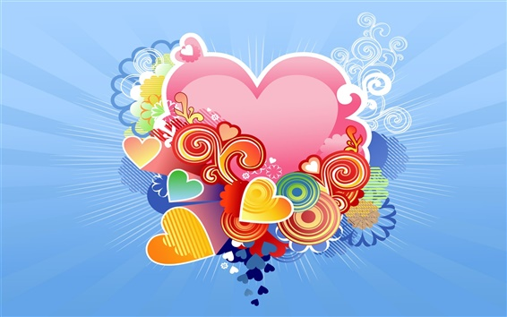 Wallpaper Love heart-shaped blue background
