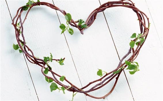 Wallpaper Love heart-shaped branches