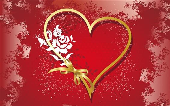 Fond d'écran L'amour en forme de coeur de ruban