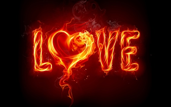 Wallpaper Love of red flame