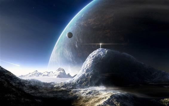 배경 화면 이 행성의 표면 마운틴