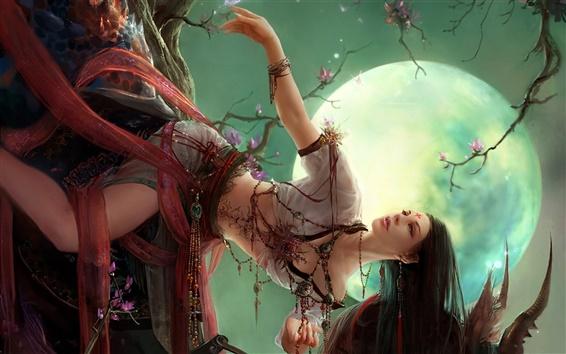Wallpaper Oriental girl under the moonlight