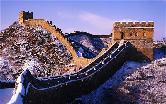 Обои Снег на Великой китайской стены