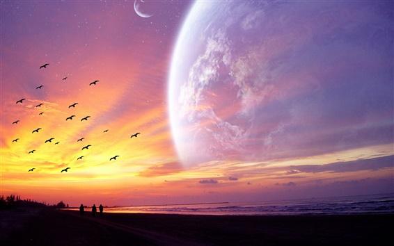 壁紙 惑星のサンセット