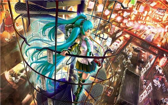 Обои Возьмите девушку лифт аниме
