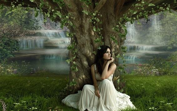 Papéis de Parede A garota sentada embaixo de uma árvore