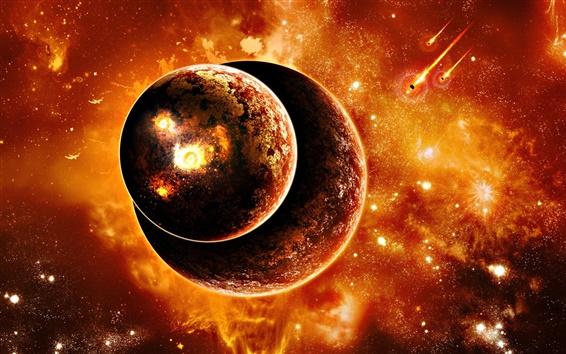 배경 화면 함께 두 행성