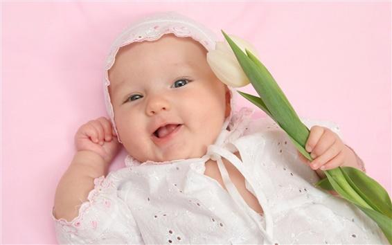 Hintergrundbilder Tulip in Baby Hand