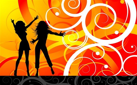 Wallpaper Vector dance girls