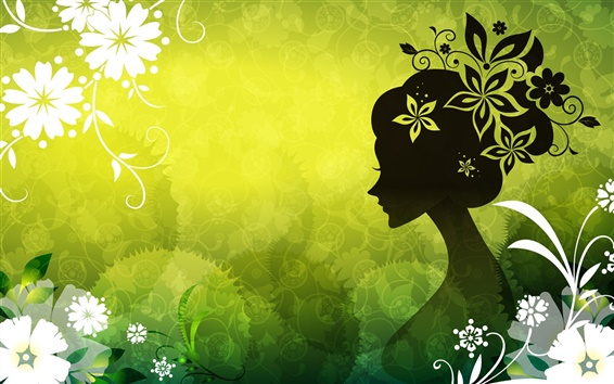 Wallpaper Vector women green flowers