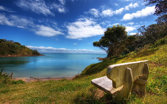 Wallpaper Wooden chairs and blue green water