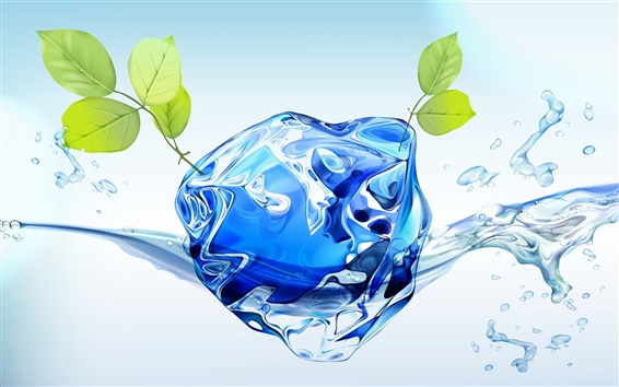 Wallpaper 3D water with green leaves