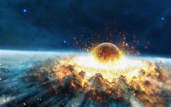 Fond d'écran Explosion de l'impact d'astéroïdes