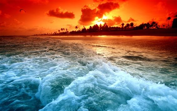 배경 화면 비치 일몰과 해변 파도