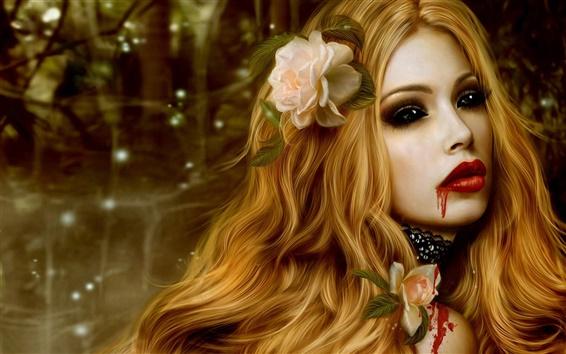 Papéis de Parede Menina linda vampira