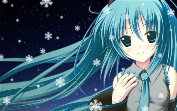 Обои Синий девушка аниме волосы