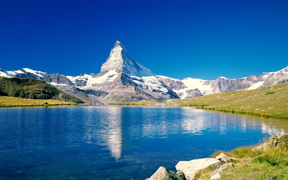 Wallpaper Blue lake and mountain scenery