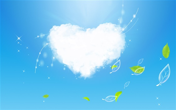 Wallpaper Clouds of Love and green leaves
