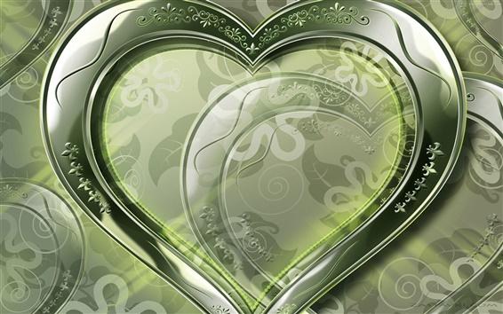 Wallpaper Crystal green love heart