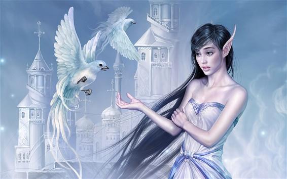 배경 화면 엘프 소녀와 비둘기
