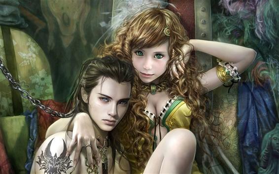 Papéis de Parede Olhos verdes da menina loira