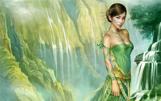 Обои Зеленая юбка восточные девушки