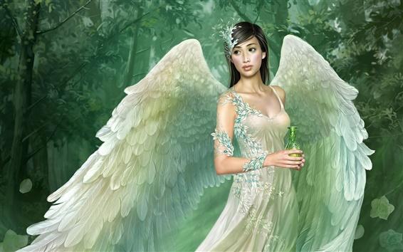 Wallpaper Green wings angel girl